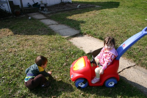 In the front yard, we rode around in the car some more.